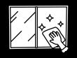 窓拭き掃除の白黒イラスト02