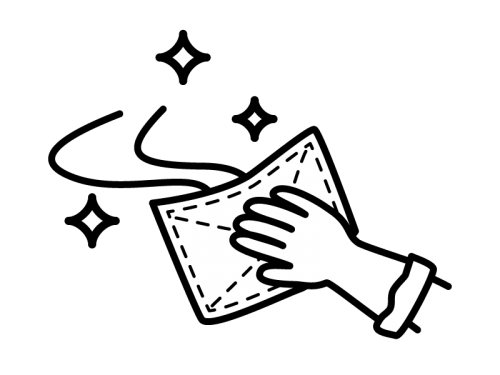 雑巾で拭いてピカピカの白黒イラスト