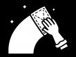 雑巾で拭いてピカピカの白黒イラスト02