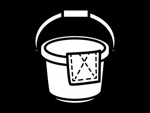 バケツと雑巾の白黒イラスト