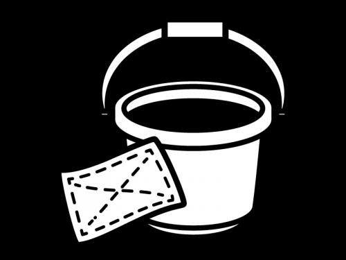 バケツと雑巾の白黒イラスト02