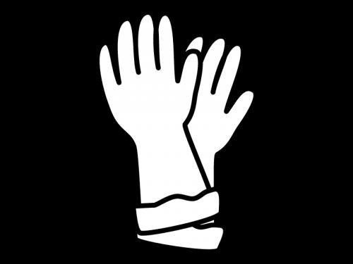 ゴム手袋の白黒イラスト