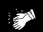 水とゴム手袋の白黒イラスト