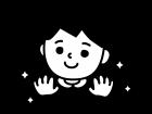 手を洗ってピカピカの手の白黒イラスト02