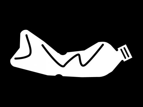 潰れたペットボトルの白黒イラスト