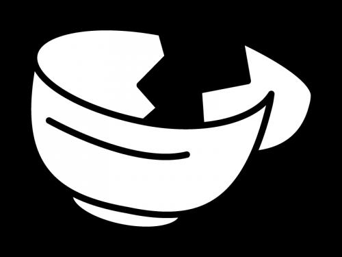 割れた茶碗の白黒イラスト