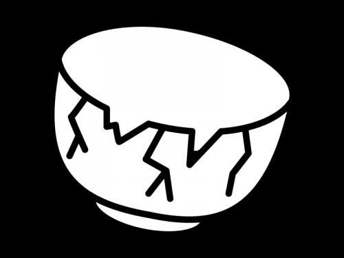 ひび割れた茶碗の白黒イラスト