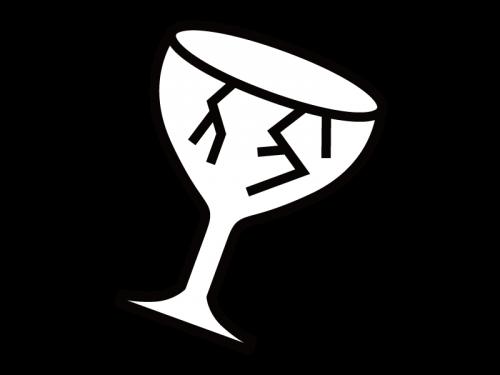 ひび割れたコップの白黒イラスト02