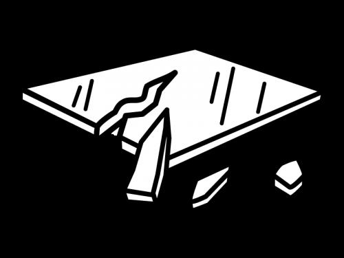 割れたガラスの白黒イラスト