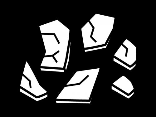 割れたガラスの白黒イラスト02