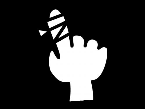 指の怪我・包帯の白黒イラスト
