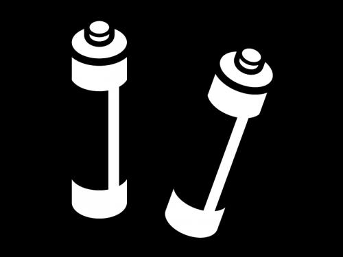 乾電池(単三)の白黒イラスト