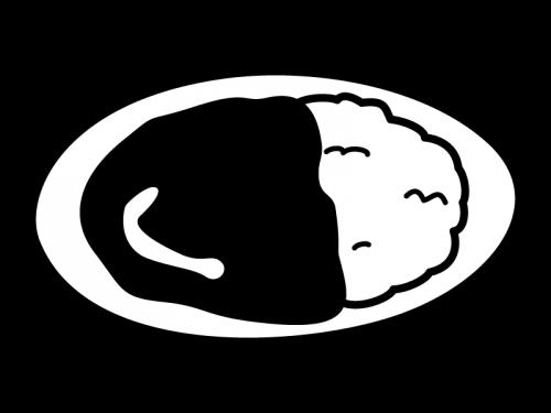 カレーライスの白黒イラスト