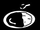 カレーライスの白黒イラスト02