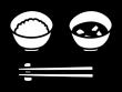 ご飯とみそ汁の白黒イラスト