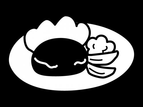 ハンバーグの白黒イラスト