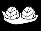 葉っぱで巻いたおにぎりの白黒イラスト