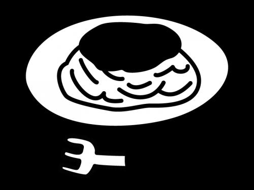 ミートソース・パスタの白黒イラスト