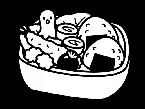 お弁当の白黒イラスト