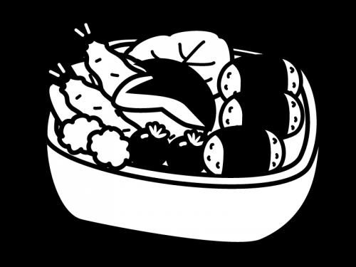 お弁当の白黒イラスト02