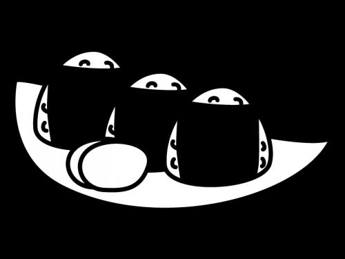 おにぎりと漬物の白黒イラスト02