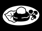 おろしハンバーグの白黒イラスト