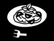 トマトパスタの白黒イラスト