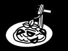 トマトパスタの白黒イラスト02