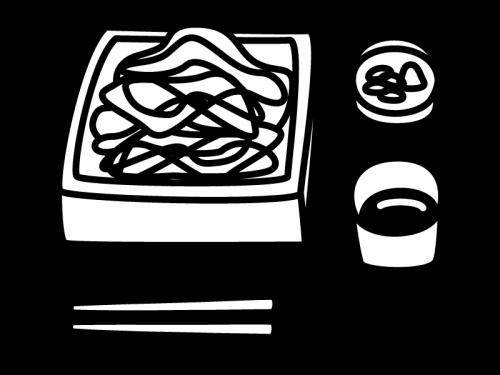 ざる蕎麦の白黒イラスト