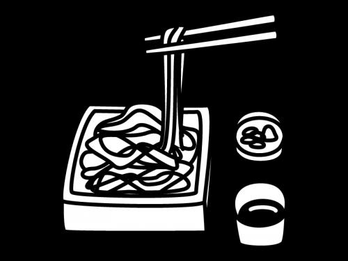 ざる蕎麦の白黒イラスト02