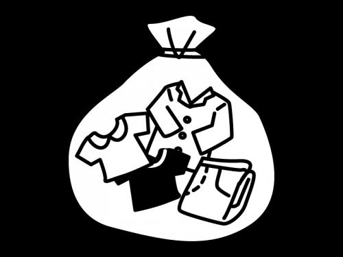 古着(ゴミ)の白黒イラスト