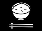 ご飯(普通盛)の白黒イラスト