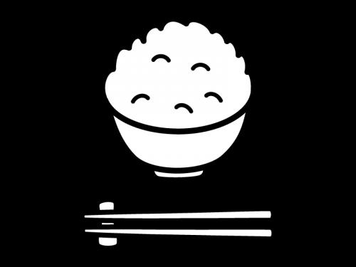 ご飯(大盛)の白黒イラスト