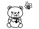 クマとハチミツの白黒イラスト