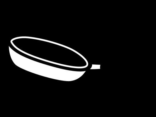 フライパンの白黒イラスト02