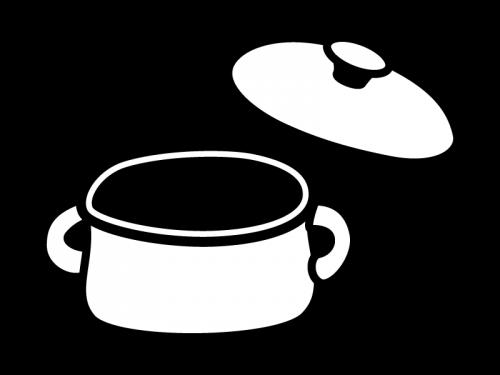 鍋の白黒イラスト