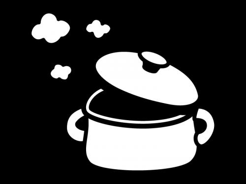 湯気が出て熱々の鍋の白黒イラスト