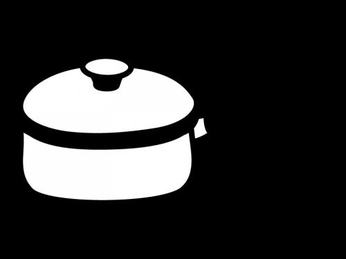 手鍋の白黒イラスト