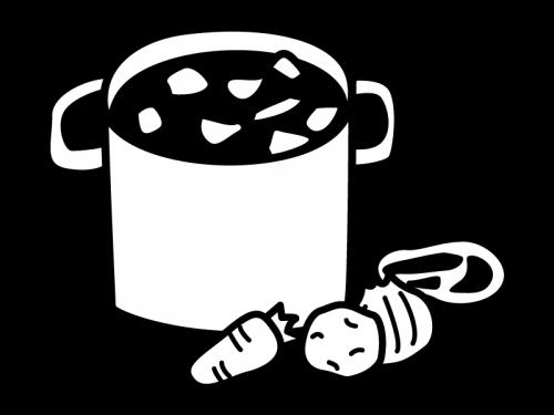カレーなどの大鍋の白黒イラスト
