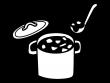 カレーなどの大鍋の白黒イラスト02