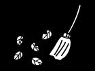落ち葉掃除の白黒イラスト