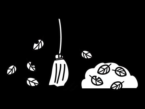 落ち葉掃除のイラスト02 かわいい無料の白黒イラスト モノぽっと