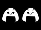 おにぎりのキャラクターの白黒イラスト