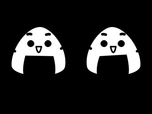 おにぎりのキャラクターの白黒イラスト02