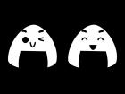 おにぎりのキャラクターの白黒イラスト03