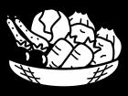 かご盛りの野菜の白黒イラスト
