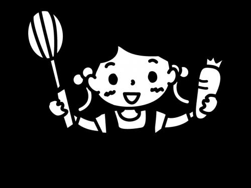 クッキング・子どもの白黒イラスト