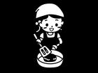 料理する子どもの白黒イラスト