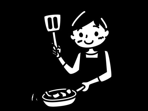 料理(炒め物)をするお母さんの白黒イラスト