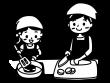 親子で料理をしている白黒イラスト